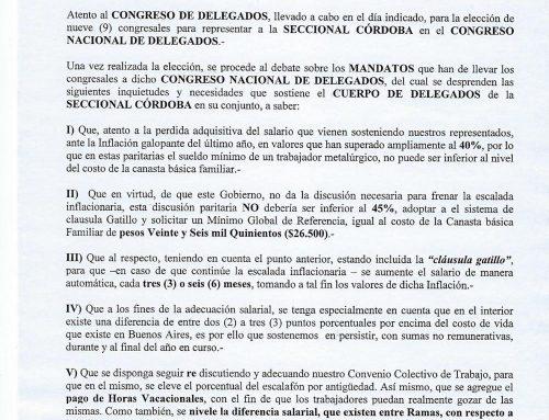 DOCUMENTO PRESENTADO EN EL CONGRESO NACIONAL DE DELEGADOS
